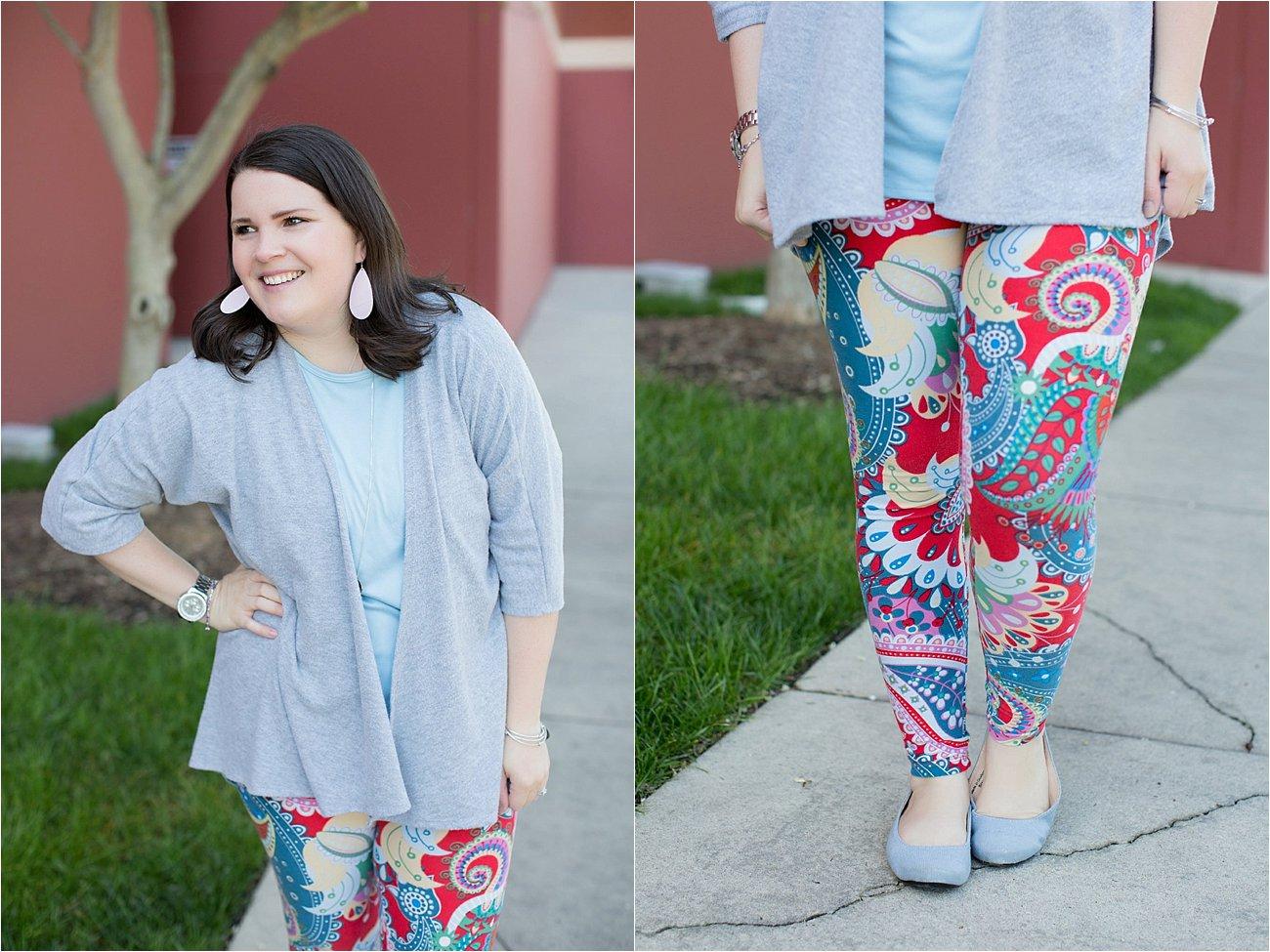 LulaRoe Lindsay Kimono in Grey, Lularoe Irma tunic, Paisley printed LulaRoe leggings, The Root Collective Gaby Ballet Flat, Nickel and Suede Earrings | Mom Style | North Carolina Fashion & Style Blogger (5)