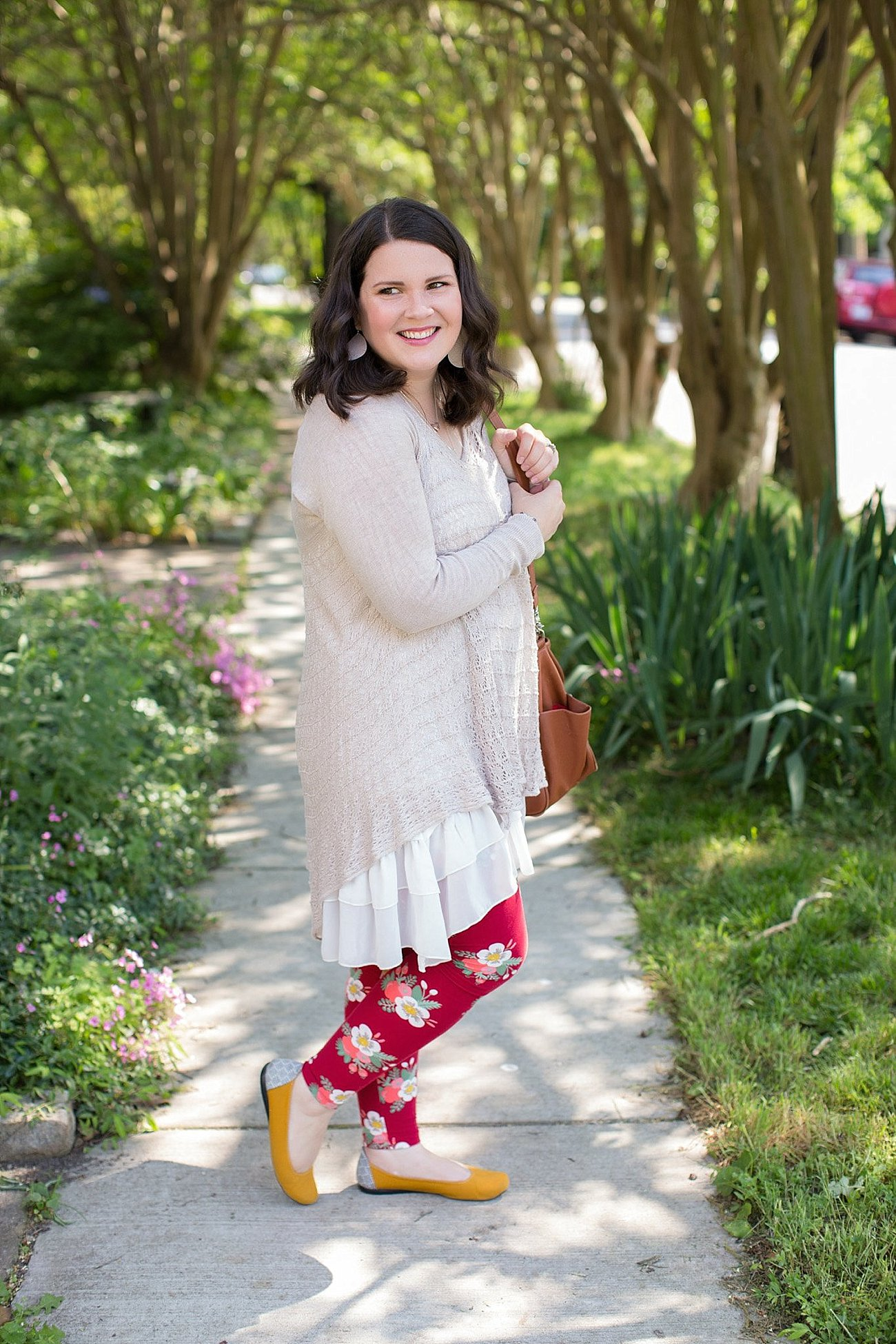 Grace & Lace two fit knit cardigan, lace extender, LulaRoe floral leggings, The Root Collective ballet flats | Ethical Fashion & Style Blogger (6)