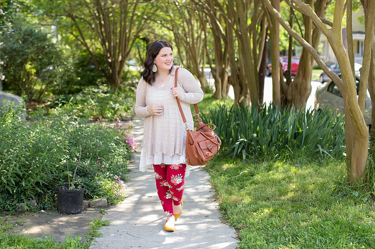 Grace & Lace two fit knit cardigan, lace extender, LulaRoe floral leggings, The Root Collective ballet flats | Ethical Fashion & Style Blogger (7)