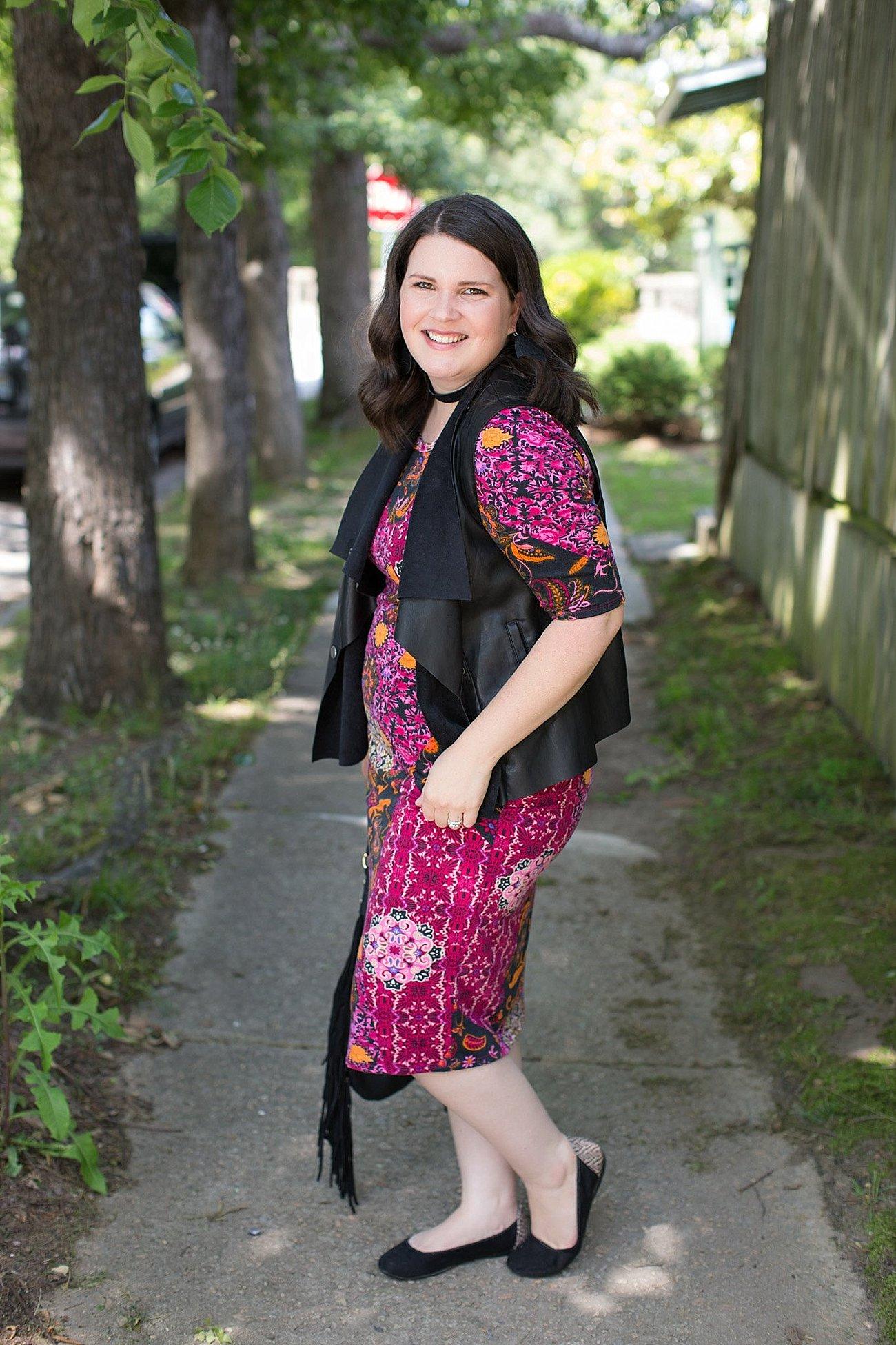 LulaRoe Julia Dress, Stitch Fix Kut From the Kloth Leather Vest, Nickel & Suede Earrings, Nickel & Suede Choker   North Carolina Fashion & Style Blogger (1)