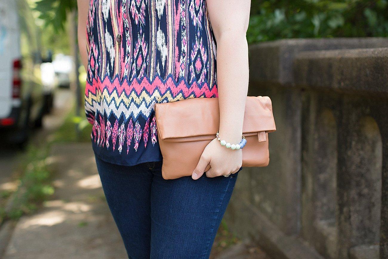 Stitch Fix Le Lis Jessamine Scoop Neck Blouse, 31 bits bracelet, Sseko Designs clutch, The Root Collective Izzie Dorsay Flats | Ethical Fashion & Style Blogger (5)