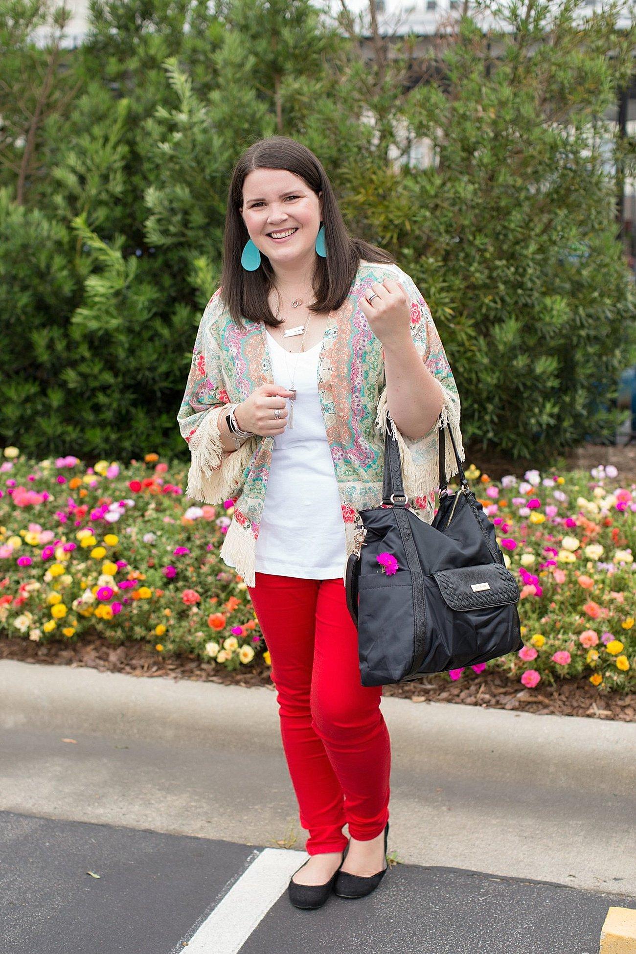 "Grace & Lace kimono, PACT apparel v-neck tee, Stitch Fix ""Kensie"" red jeans, Lily Jade diaper bag | North Carolina Fashion Blogger (1)"