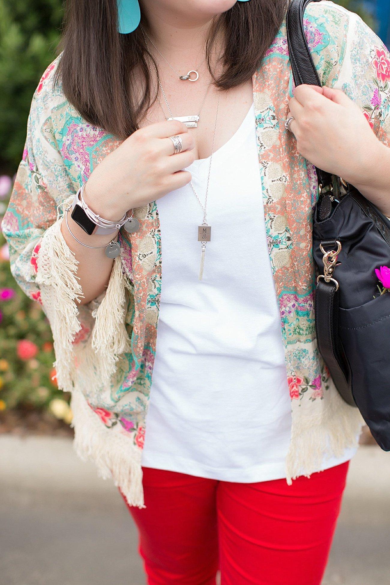 "Grace & Lace kimono, PACT apparel v-neck tee, Stitch Fix ""Kensie"" red jeans, Lily Jade diaper bag | North Carolina Fashion Blogger (5)"