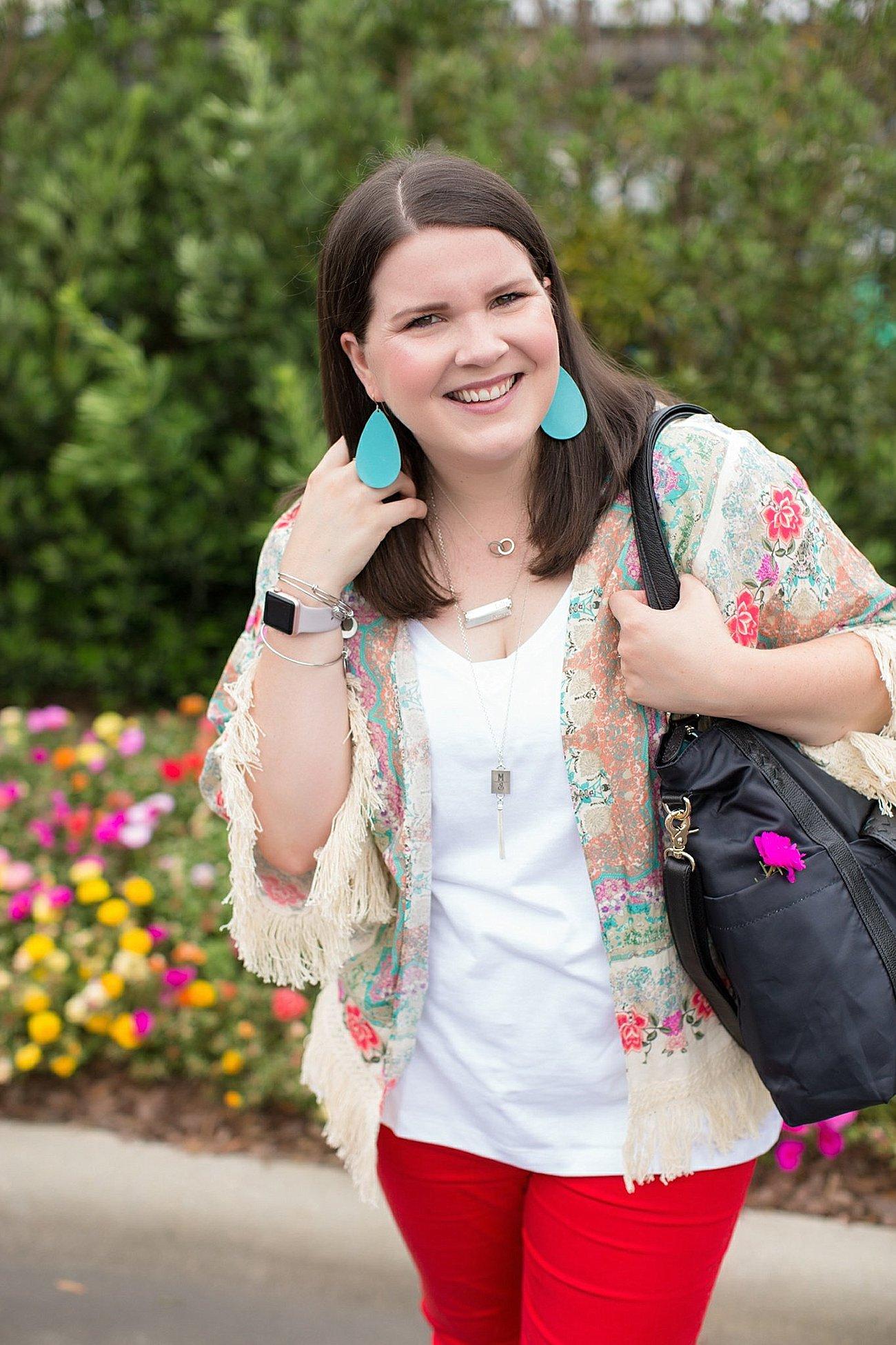 "Grace & Lace kimono, PACT apparel v-neck tee, Stitch Fix ""Kensie"" red jeans, Lily Jade diaper bag | North Carolina Fashion Blogger (9)"