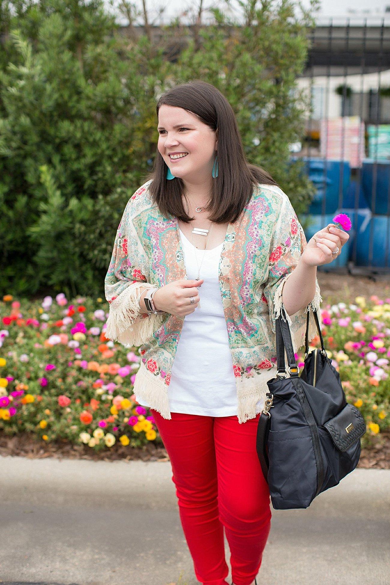 "Grace & Lace kimono, PACT apparel v-neck tee, Stitch Fix ""Kensie"" red jeans, Lily Jade diaper bag | North Carolina Fashion Blogger (11)"