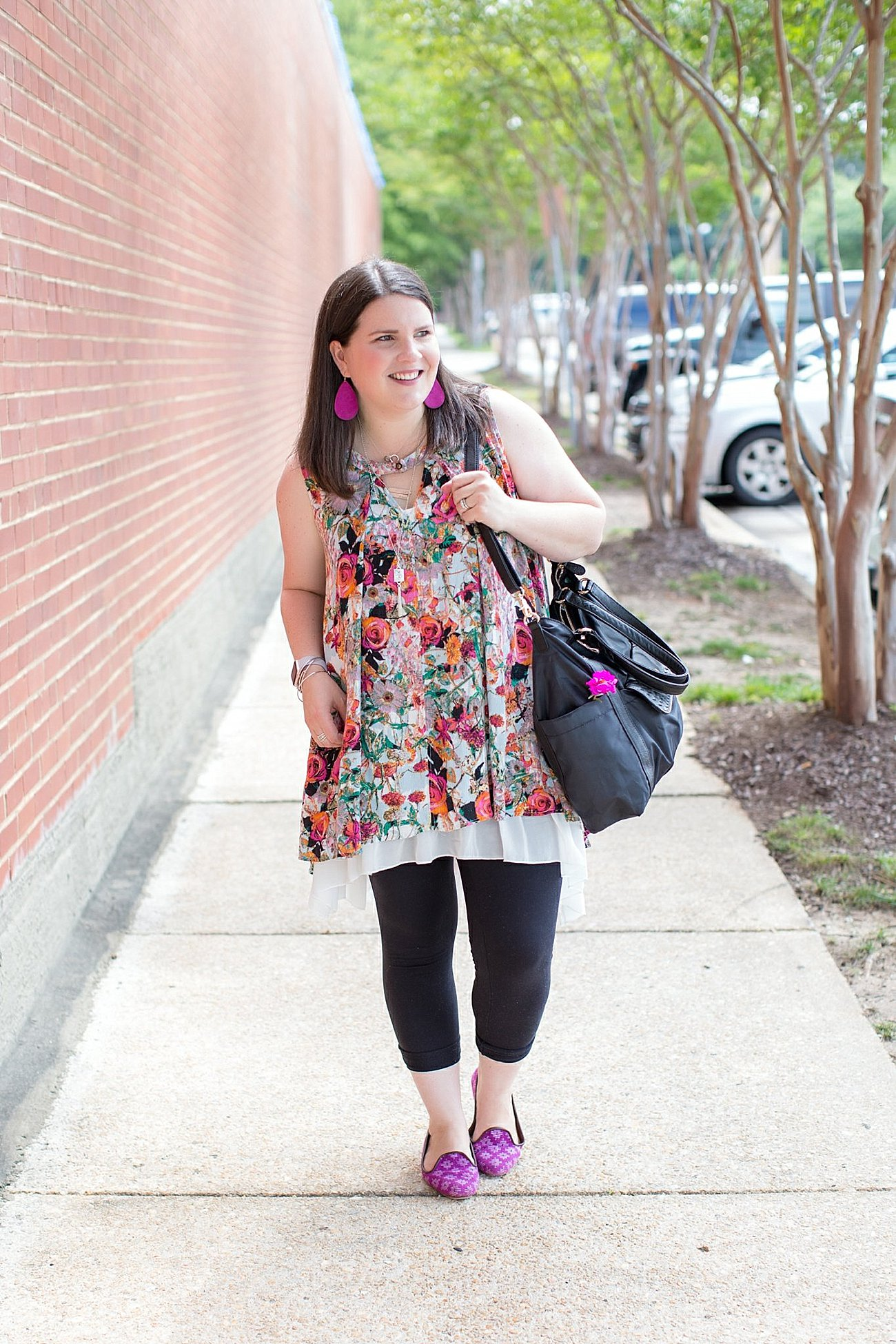 """Grace & Lace floral tunic, chiffon lace extender, LulaRoe black leggings, Lily Jade diaper bag, Nickel and Suede earrings, The Root Collective """"Millie"""" smoking shoes   North Carolina Fashion Blogger (1)"""