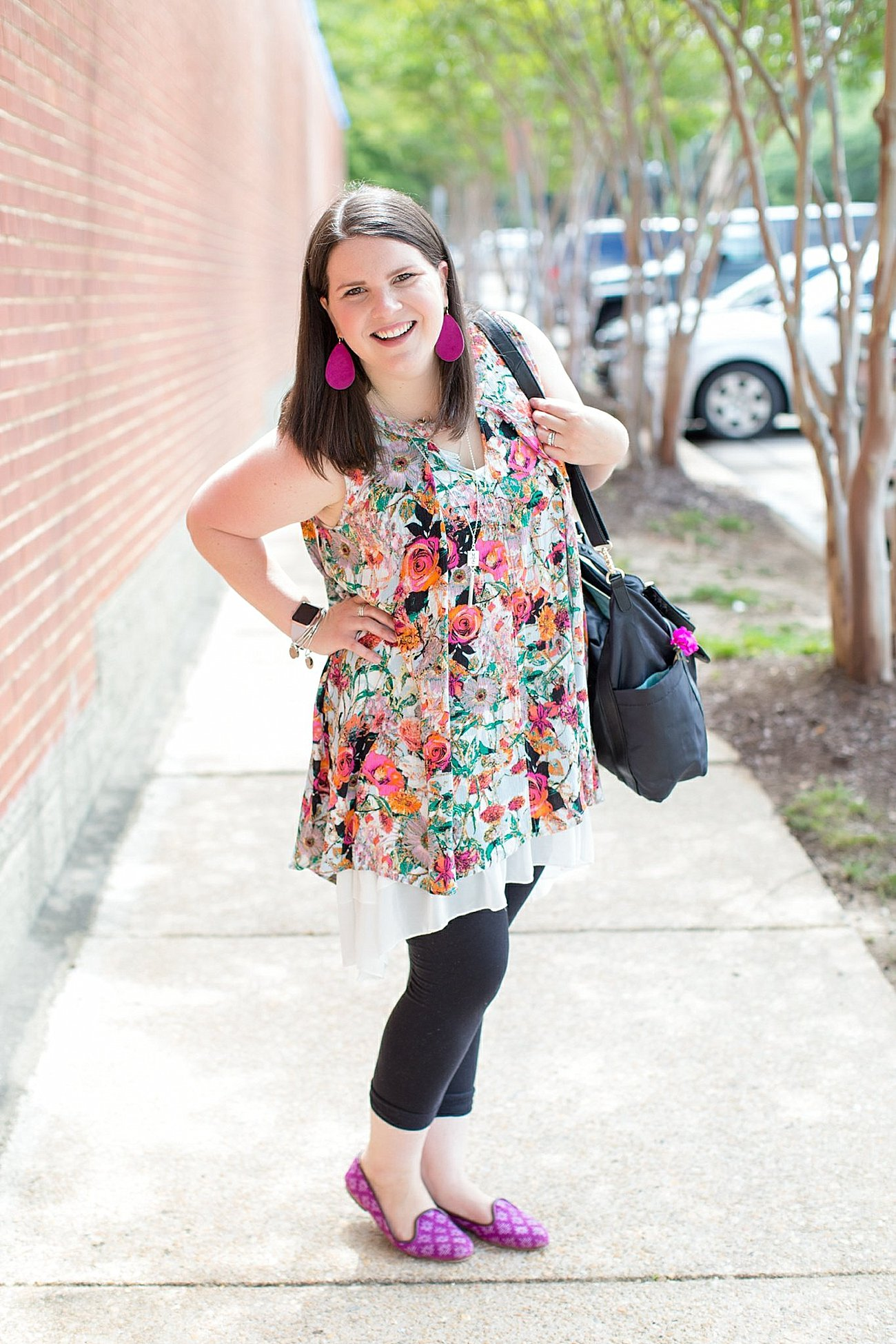 """Grace & Lace floral tunic, chiffon lace extender, LulaRoe black leggings, Lily Jade diaper bag, Nickel and Suede earrings, The Root Collective """"Millie"""" smoking shoes   North Carolina Fashion Blogger (4)"""