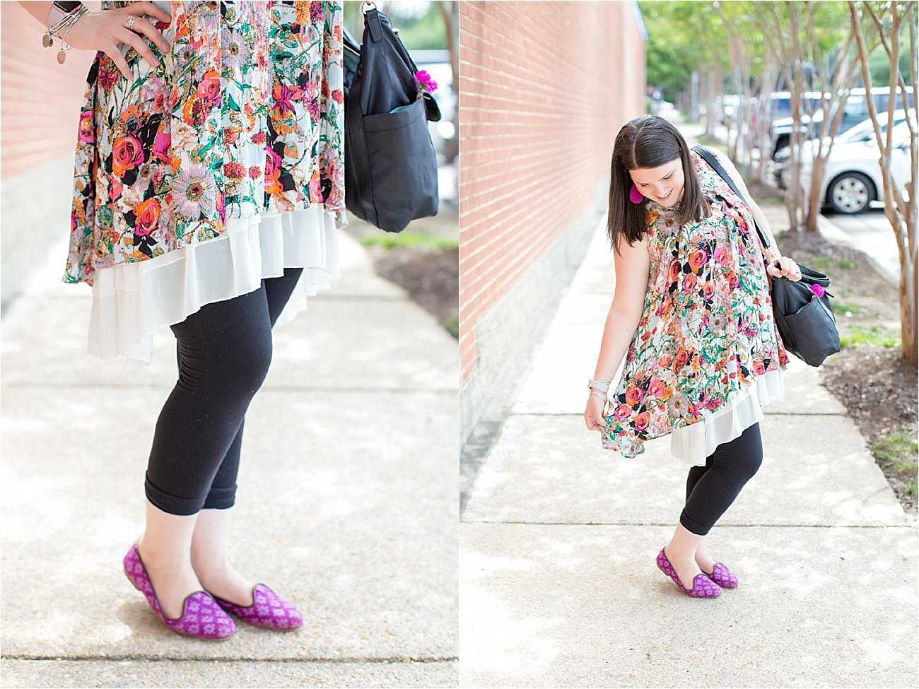 """Grace & Lace floral tunic, chiffon lace extender, LulaRoe black leggings, Lily Jade diaper bag, Nickel and Suede earrings, The Root Collective """"Millie"""" smoking shoes   North Carolina Fashion Blogger (5)"""