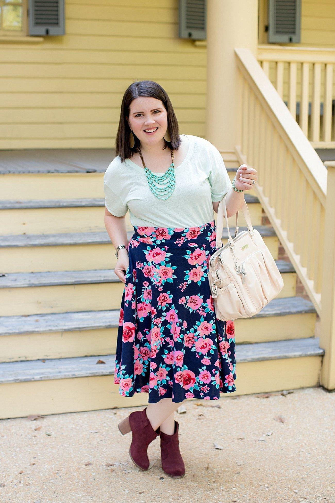 Threads for Thought tee, Agnes & Dora floral midi skirt, Booties, Kalencom diaper bag (2)