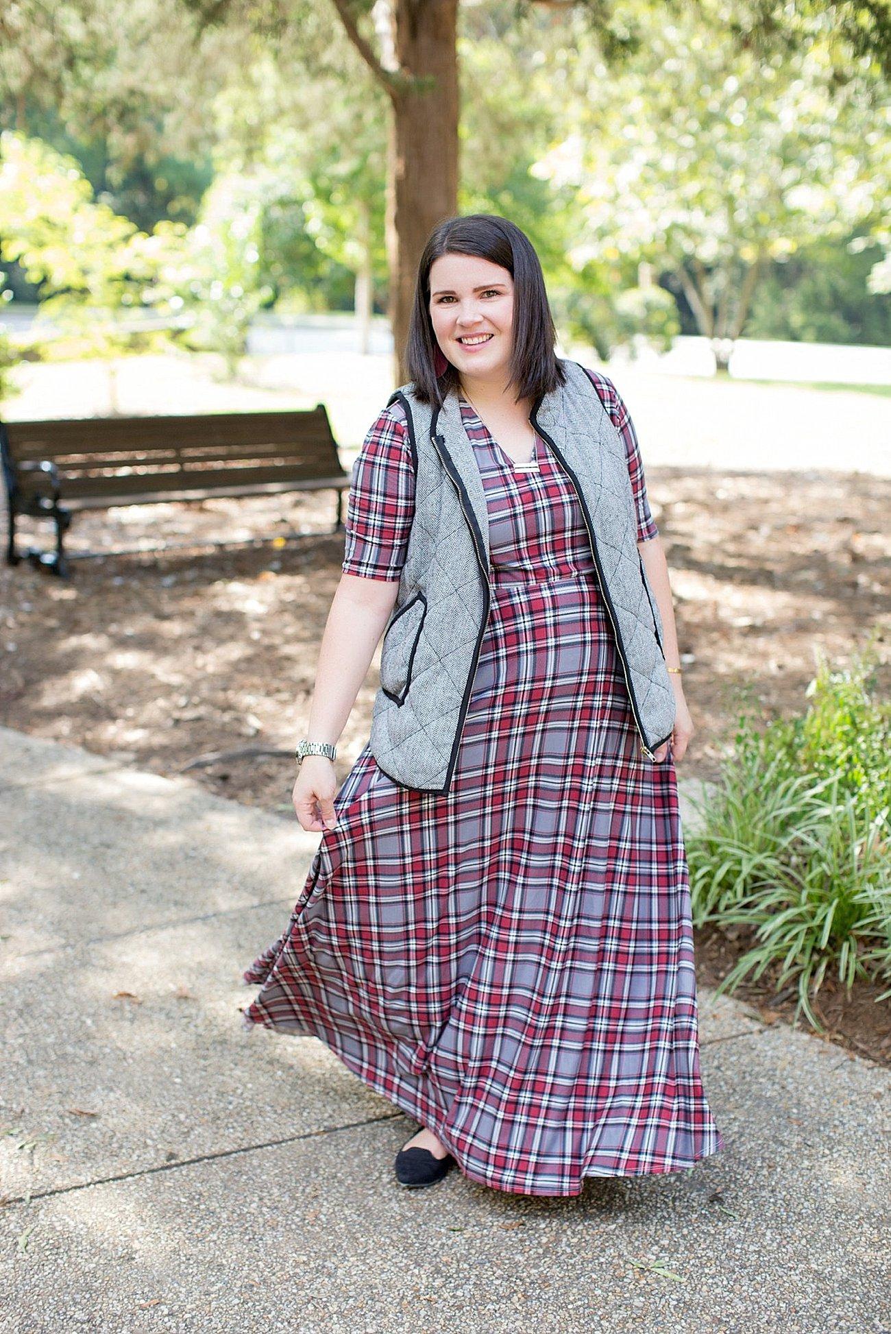 Agnes & Dora plaid Austen dress, herringbone vest, fall fashion, ethical fall fashion | North Carolina life and style blogger (2)