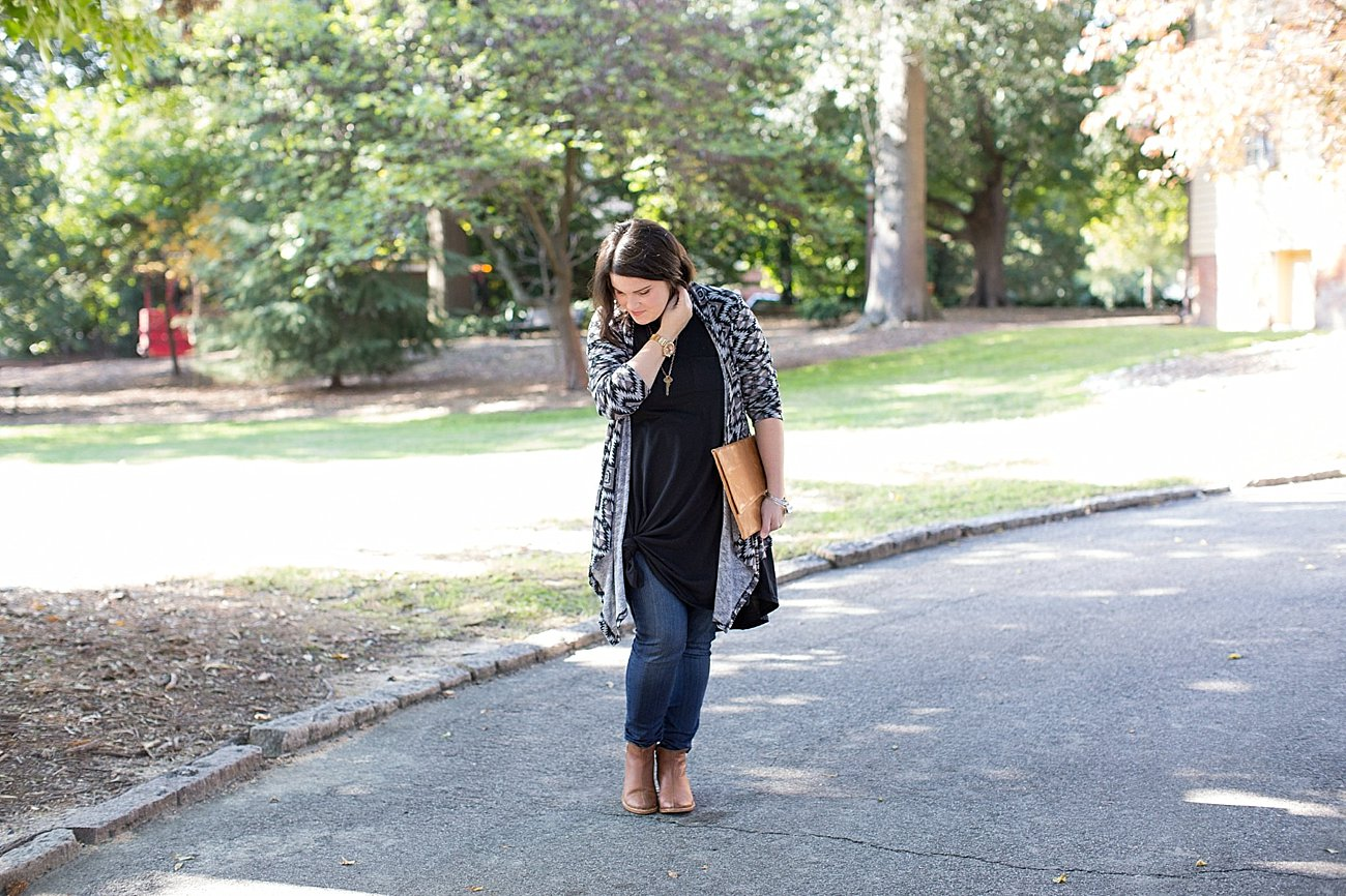 Lularoe Carly dress, skinny jeans, The Root Collective Espe booties, The Flourish Market cardigan (1)
