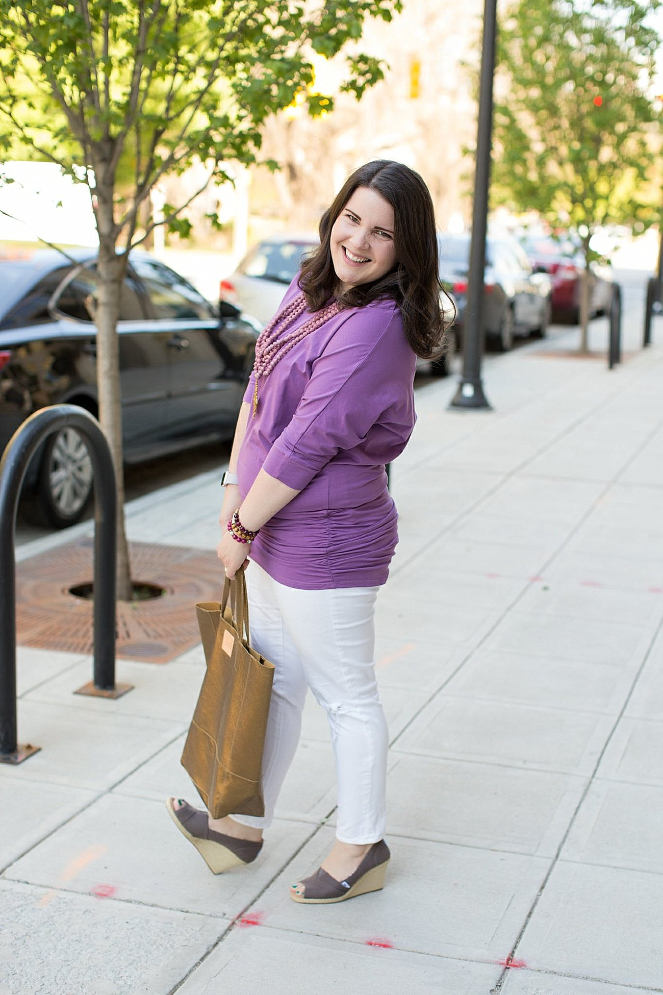 White Denim Outfits with the Elegantees Cassie Tunic by ethical fashion blogger Still Being Molly