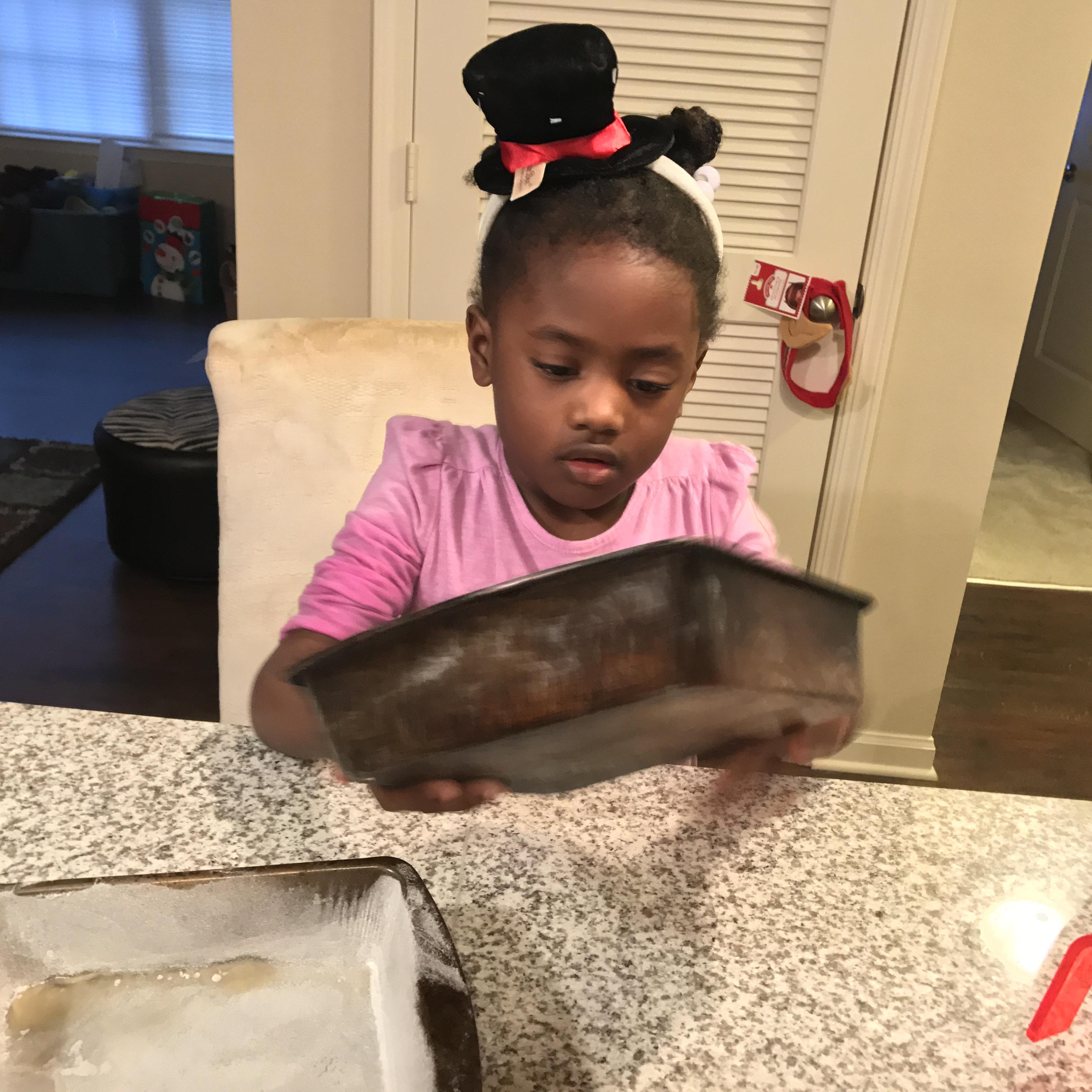 Flour the cake pans Making Memories