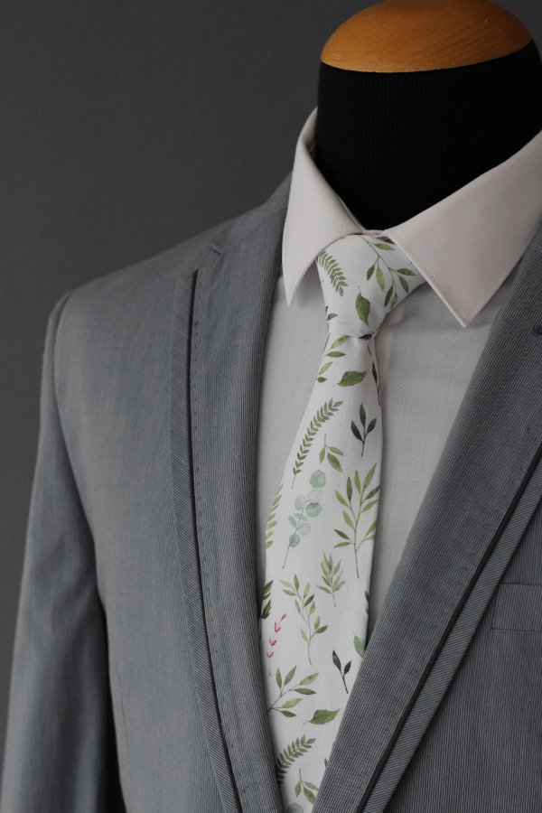Botanical Watercolour Green Tie Cape Town South Africa Groom Wedding