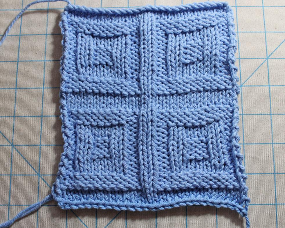 window panes knit stitch pattern swatch