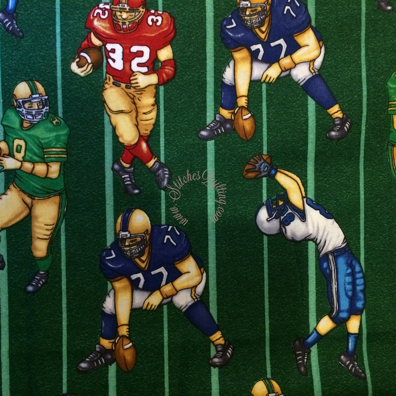 Multicolored Football Players Green Football Field Fabric