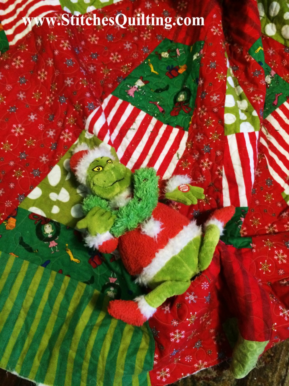 Our Quilted Grinch Tree Skirt that I longarmed Grinch stuff creatures to it! Tutorial coming later this week.