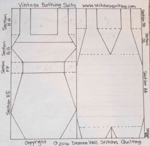 Vintage Swimming Bathing Suits Quilt Pattern