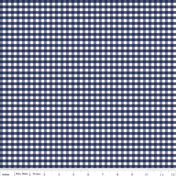 Navy Blue Small Gingham Fabric Riley Blake Stitches Quilting