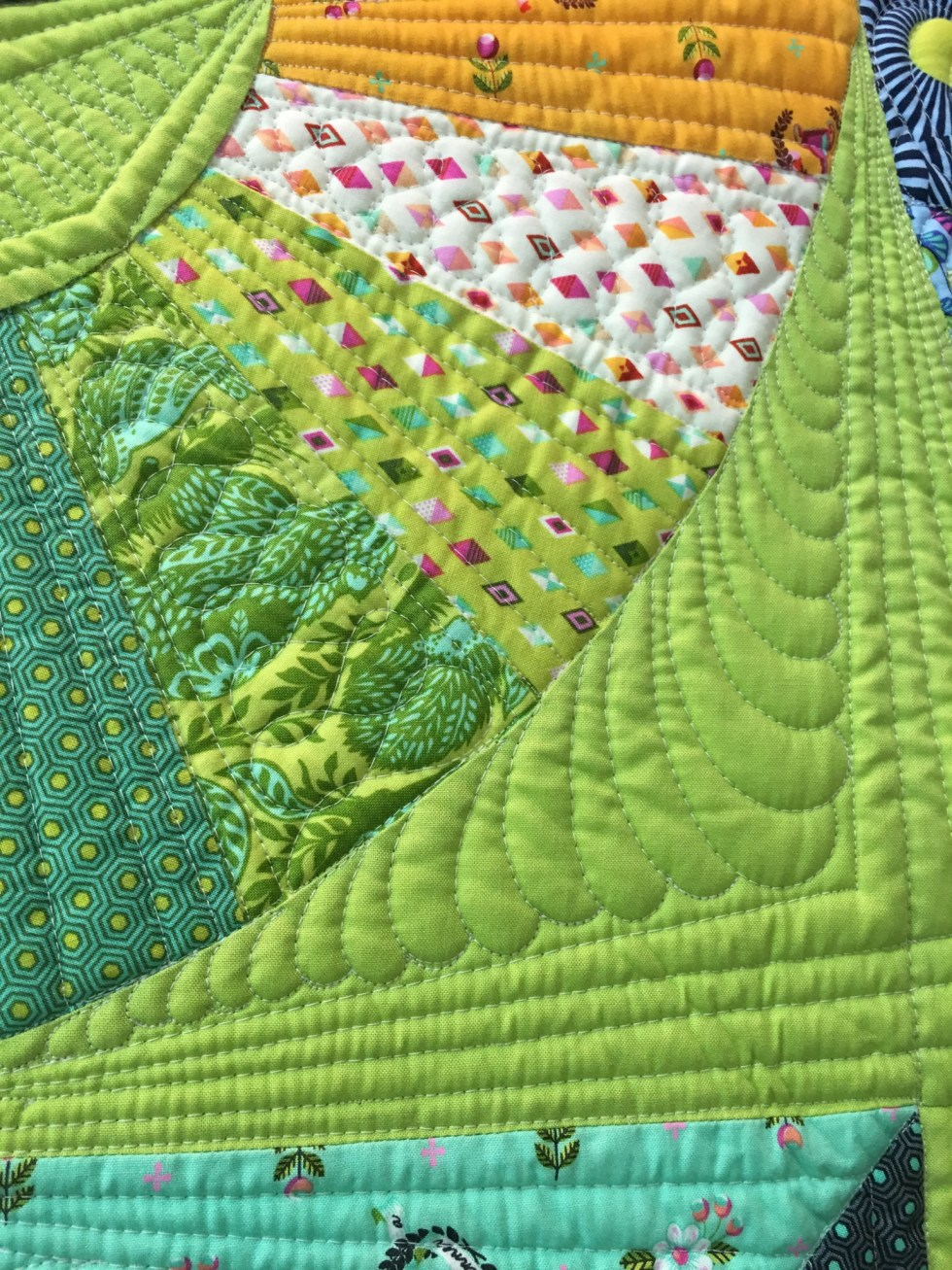Slow and Steady Fabric by Tula Pink Quilted