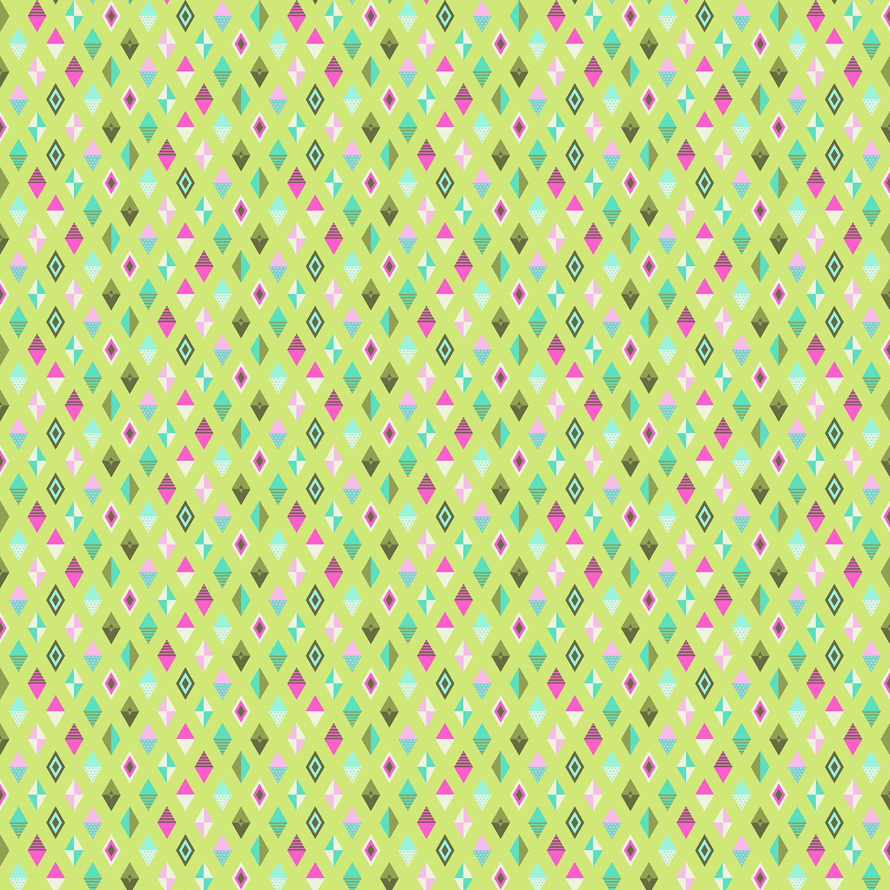 tula pink fabric slow steady track flags strawberry kiwi