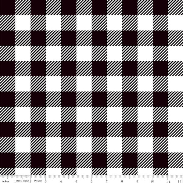 Black White Buffalo Plaid Fabric C7511 Stitches Quilting