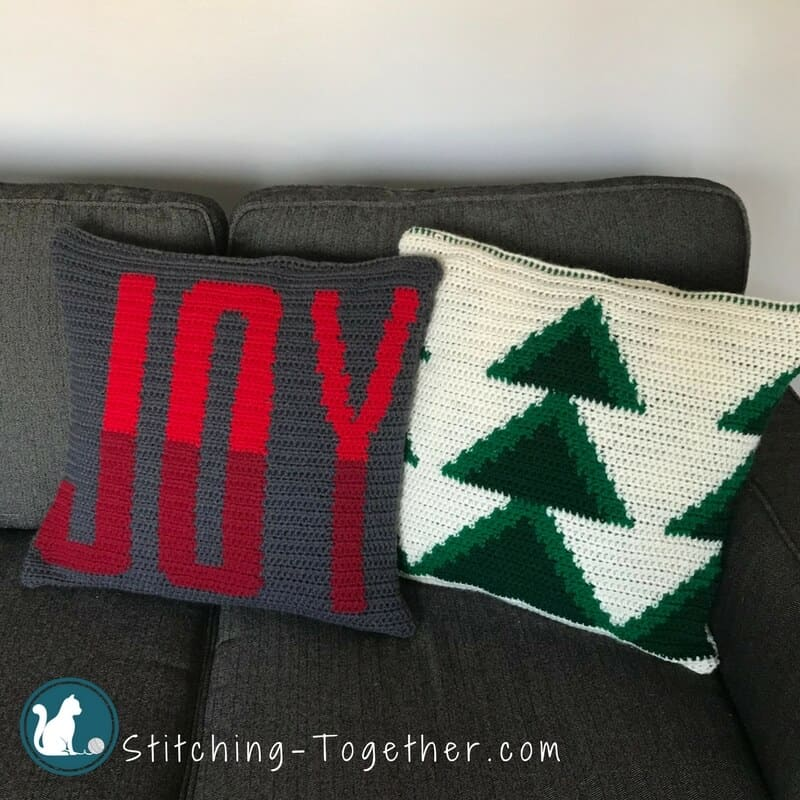 Crochet joy pillow cover stitching together beautiful crochet pillow cover get in the holiday spirit with this free crochet pattern dt1010fo