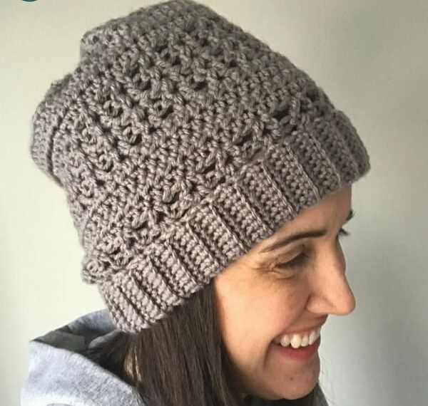 Check out this fun and unique crochet slouchy hat. There is a free pattern so you can make your own! Since the hat is first made by crocheting a rectangle, there is no working in the round. This is a perfect free crochet pattern for a hat making beginner. #crochet #crochethat #crocheting #crochetfreepattern