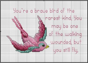 Stitch Pink Bird from DMC