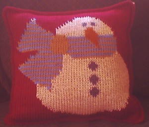 little snowman crochet pillow