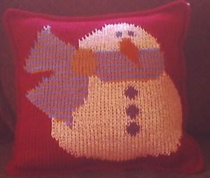 little snowman crochet pillow