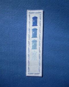 disappearing TARDIS cross stitch bookmark