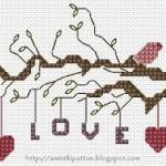 Love Cross Stitch with birds
