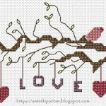 Love Cross Stitch with birds