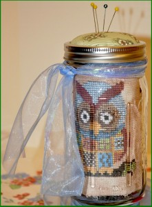 cross stitch kit in a jar by Terrie at Eclectic Darlings