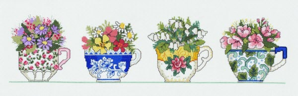 Row of Teacups cross stitch from Janylynn