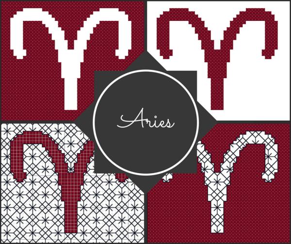 Aries Zodiac Blocks for Cross Stitch and Blackwork