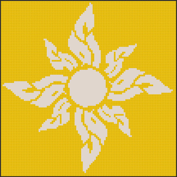 Flaming Floral Sunshine Cross Stitch Pattern in Yellow