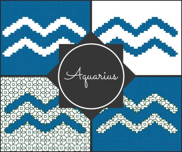Aquarius Zodiac Blocks for Cross Stitch and Blackwork