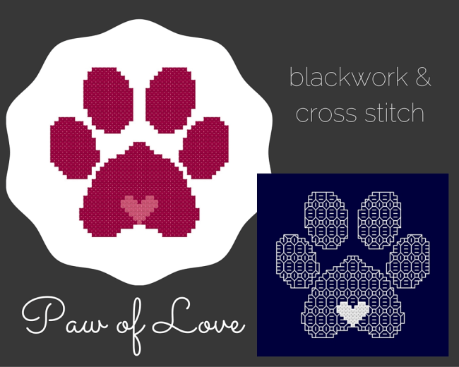 Cross stitch and blackwork pattern Penny's Paw of Love