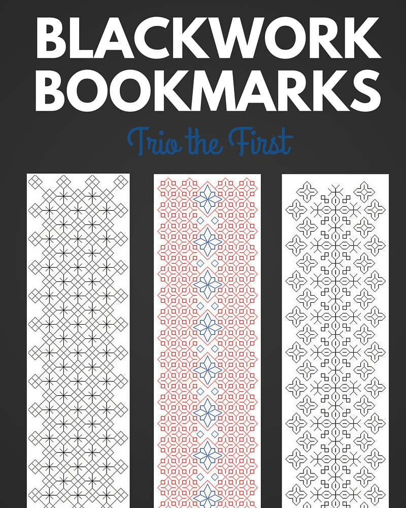 Blackwork Bookmark Trio the First