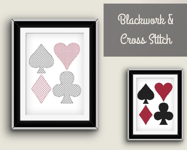 card suit sampler blackwork pattern and cross stitch pattern