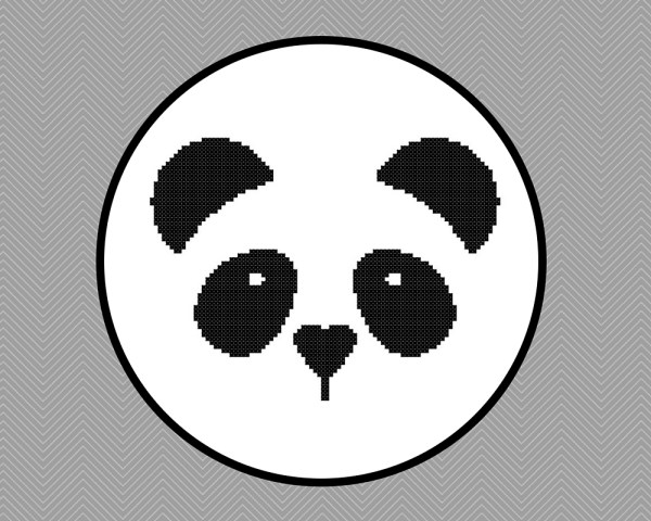 kawaii panda face cross stitch pattern