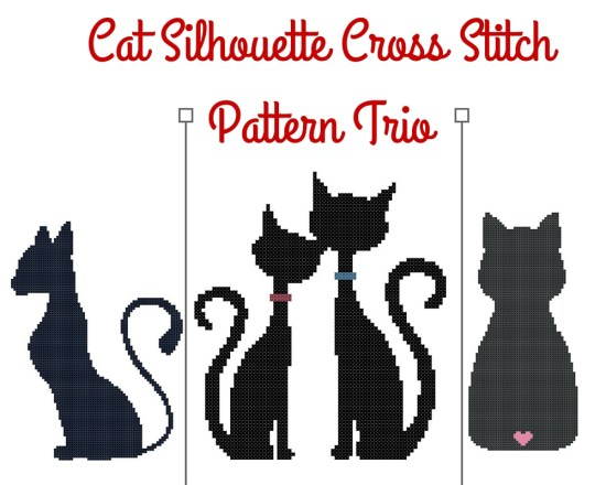 Cat Silhouette Cross Stitch Pattern Trio Previews