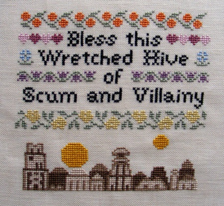 Bless This Wretched Hive of Scum and Villainy welcome home sampler cross stitch pattern