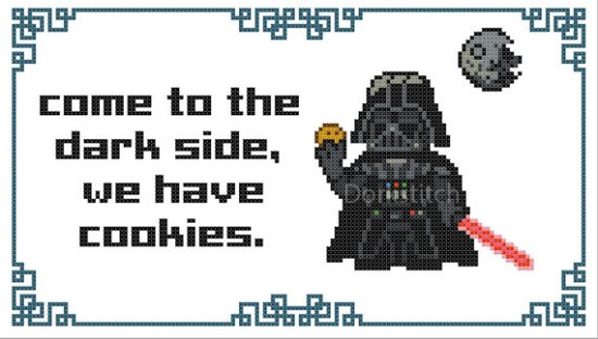 Come to Dark Side (we have cookies) Star Wars Darth Vader cross stitch pattern