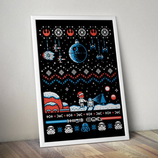 Star Wars Holiday Christmas Cross Stitch Sampler Pattern