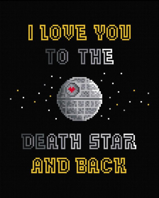 Star Wars Cross Stitch Pattern by PixelPower: I love you to the death star and back