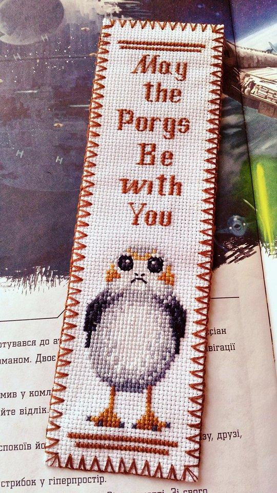 "Star Wars ""May the PORGS be with you"" cross stitch bookmark pattern available on Etsy"