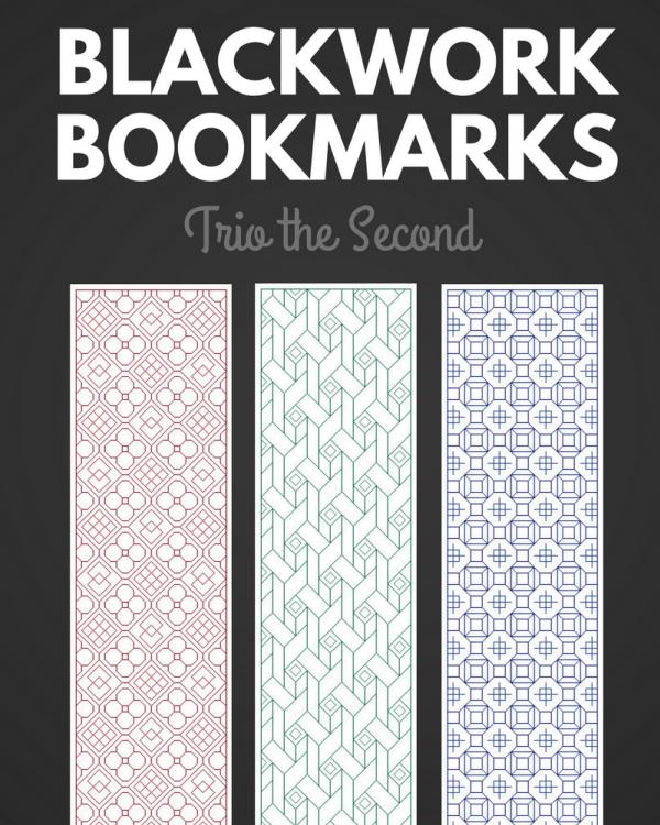 Blackwork Bookmark Trio the Second